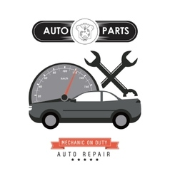 Mileage and wrench icon auto part design vector