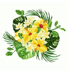 Bouquet of tropical flowers and leaves vector