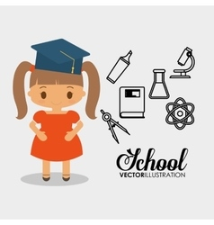Cartoon school girl cap graduation vector