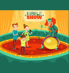 Circus clown performance bubble show poster vector