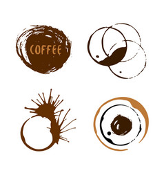 Coffee cup stains collection isolated round vector