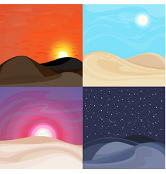 Colorful desert landscapes set vector