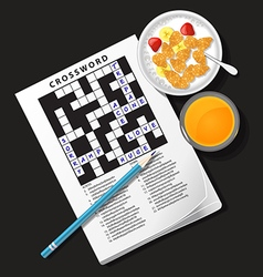 Crossword game with cereal bowl and orange juice vector