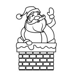 Cute cartoon santa claus in chimney vector