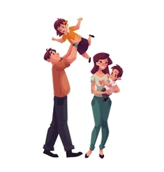 Father mother daughter and son happy family vector image vector image