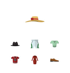 flat clothes set of casual elegant headgear vector image