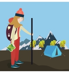 Girls go hiking mouintain tent bring bag and map vector