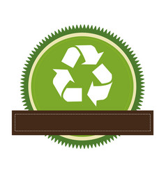 Green circular frame with recycling symbol and vector
