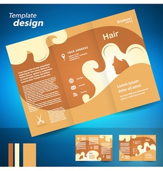 Hair salon locks beauty hairdresser brochure vector