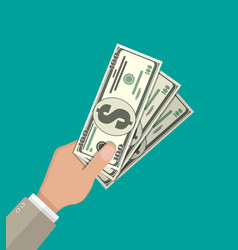 Hands with dollar banknotes vector