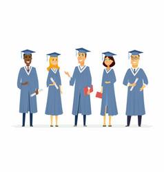 happy graduating students - cartoon people vector image
