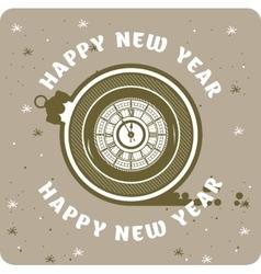 Happy new year clock vector