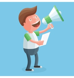 Happy young man screaming into a megaphone in his vector image vector image