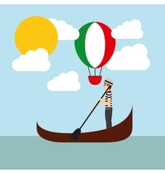 Hot air balloon and catoon icon italy culture vector