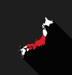 Japan flag map flat design icon vector