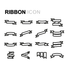 line ribbon icons set vector image vector image
