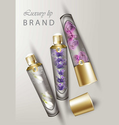 Luxury lip balm cosmetics realistic vector