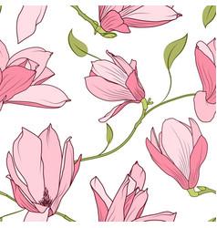 Magnolia sakura pink flowers seamless pattern vector