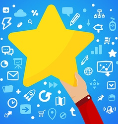Mans hand holding a large yellow star on a blue vector