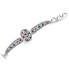 Metal bracelet with precious stones vector