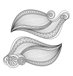 Monochrome set of decorative elements in doodle vector