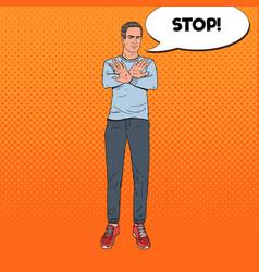 pop art man gesturing stop hand sign vector image vector image