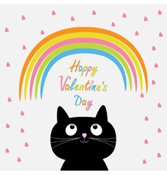 Rainbow and pink heart rain with cute cartoon cat vector image