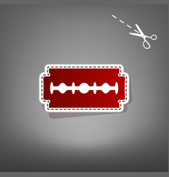 Razor blade sign red icon with for vector