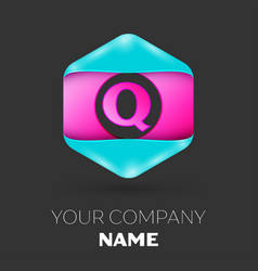 Realistic letter q logo in colorful hexagonal vector