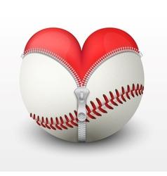 Red heart inside baseball ball vector image