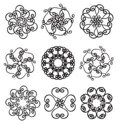 set of circle ornates snowflakes vector image vector image