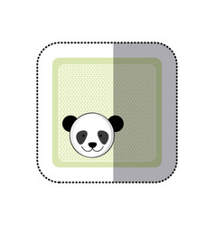 Sticker colorful greeting card with picture panda vector