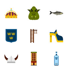swedish attractions icons set flat style vector image vector image