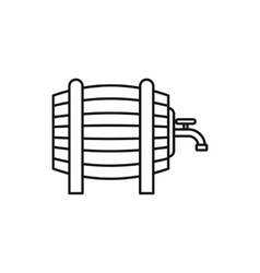 Wooden barrel with tap icon outline style vector image vector image