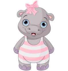 cute baby hippo vector image