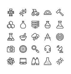 Science and technology line icons 8 vector