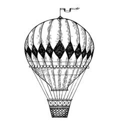 Vintage air balloon engraving style vector