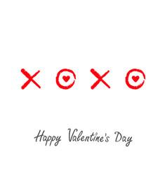 Xoxo hugs and kisses sign symbol mark love red vector