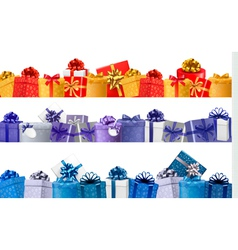 Set of shopping banners with gift colorful boxes vector image