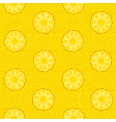 Seamless pattern of yellow pineapple slices vector