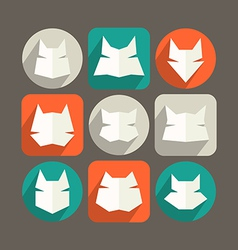 Cat icons in flat style and long shadow vector