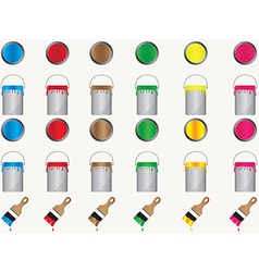 Paint cans and brushes vector image