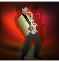 Abstract music jazz with saxophone player on red vector