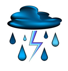 Cloud with lightning and rain drops icon vector