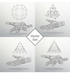 Set triangle pyramid and ball on the arm the hand vector