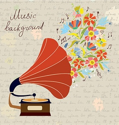Gramophone and music retro background vector