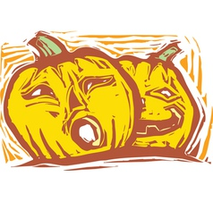 Two Jack-o-lanterns vector image