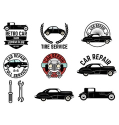 Set of retro car club labels vector