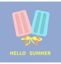 Ice cream couple set with bow hello summer vector