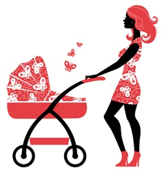 Silhouette of beautiful mother with baby carriage vector image